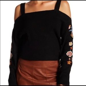 LANIE Black Cold Shoulder Embroidered Sweater!